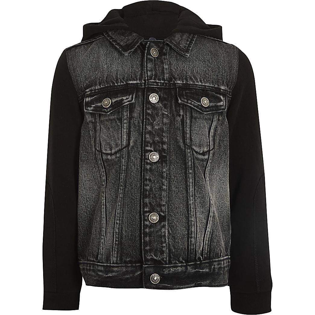 Boys grey hooded denim jacket