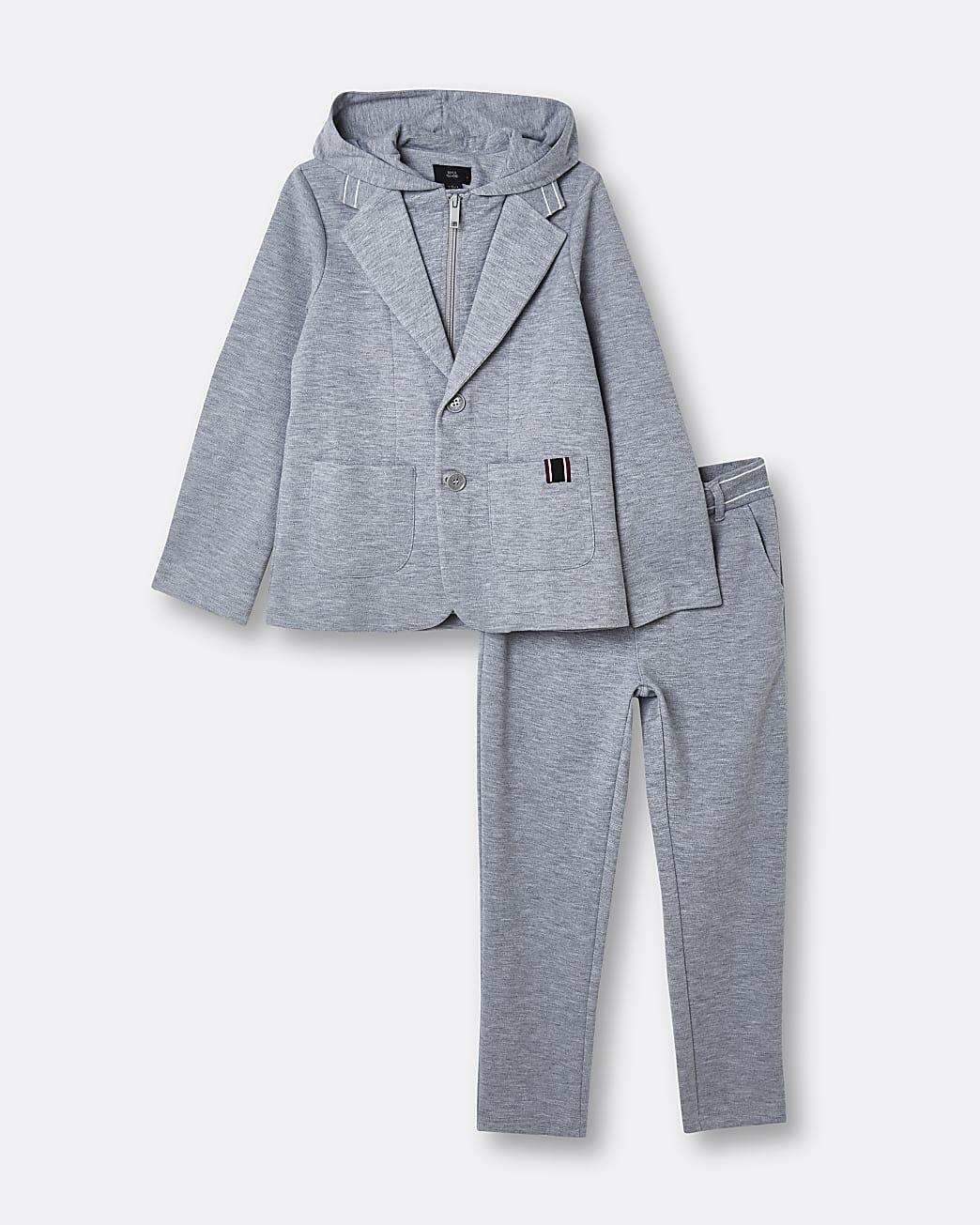 Boys grey hoodie blazer and joggers set