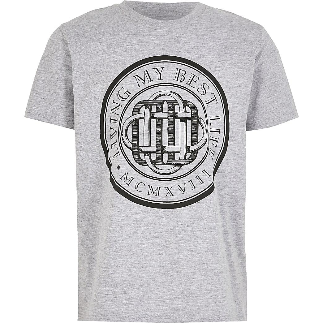 Grijs T-shirt met 'Living my best life'-print voor jongens