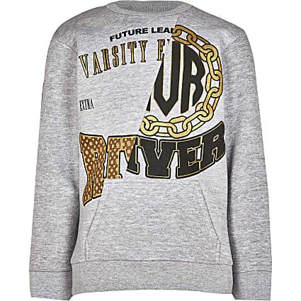 Boys grey long sleeve varsity sweatshirt
