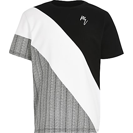 Boys grey Maison Riviera blocked t-shirt