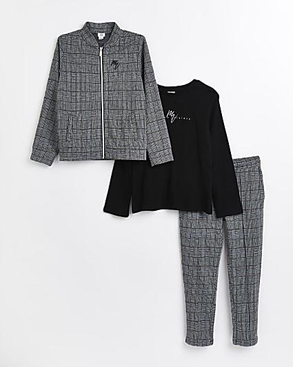 Boys grey Maison Riviera bomber jacket outfit