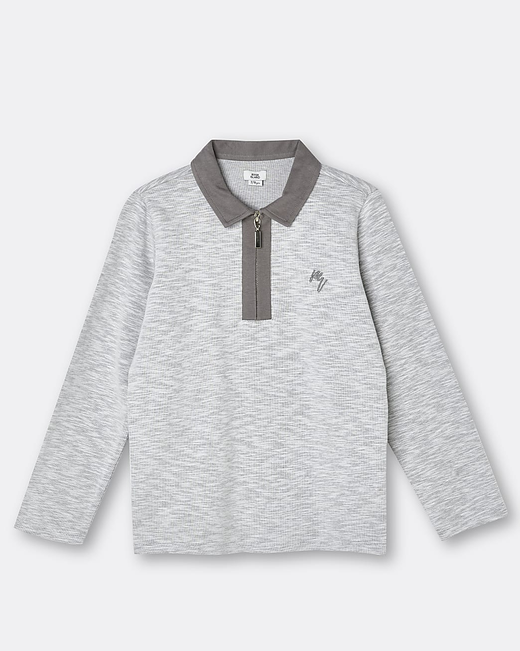 Boys grey Maison Riviera polo shirt