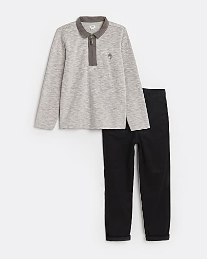 Boys grey Maison Riviera polo top and chinos