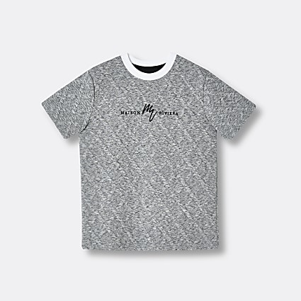 Boys grey Maison Riviera quilted t-shirt