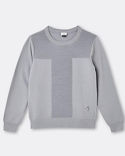 Boys grey Maison Riviera ribbed jumper