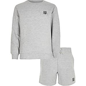 Grijze gemêleerde sweater outfit met RVR-print voor jongens