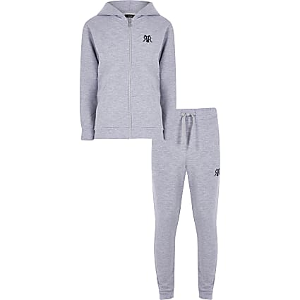 Boys grey marl zip through zip up hoody set
