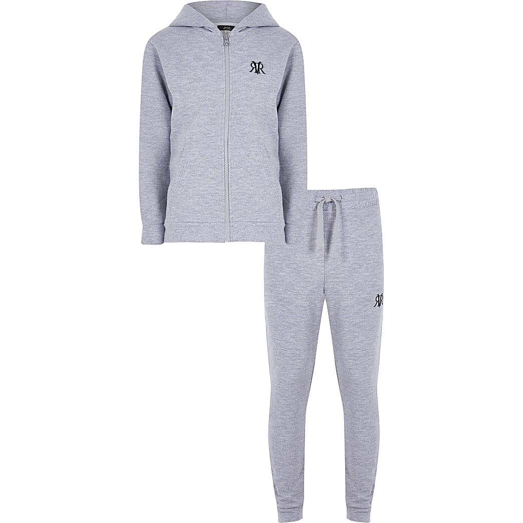 Boys grey marl zip through zip up hoody set