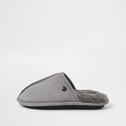 Boys grey monogram mule slippers