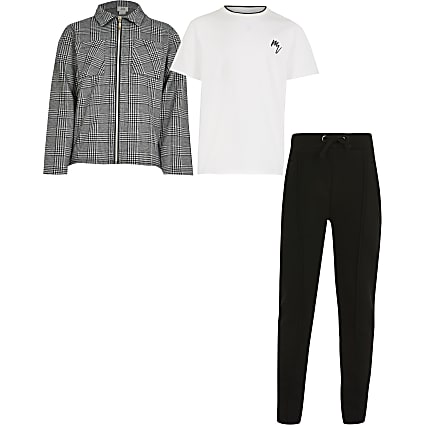 Boys grey overshirt 3 piece outfit