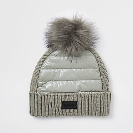 Boys grey padded panel beanie hat