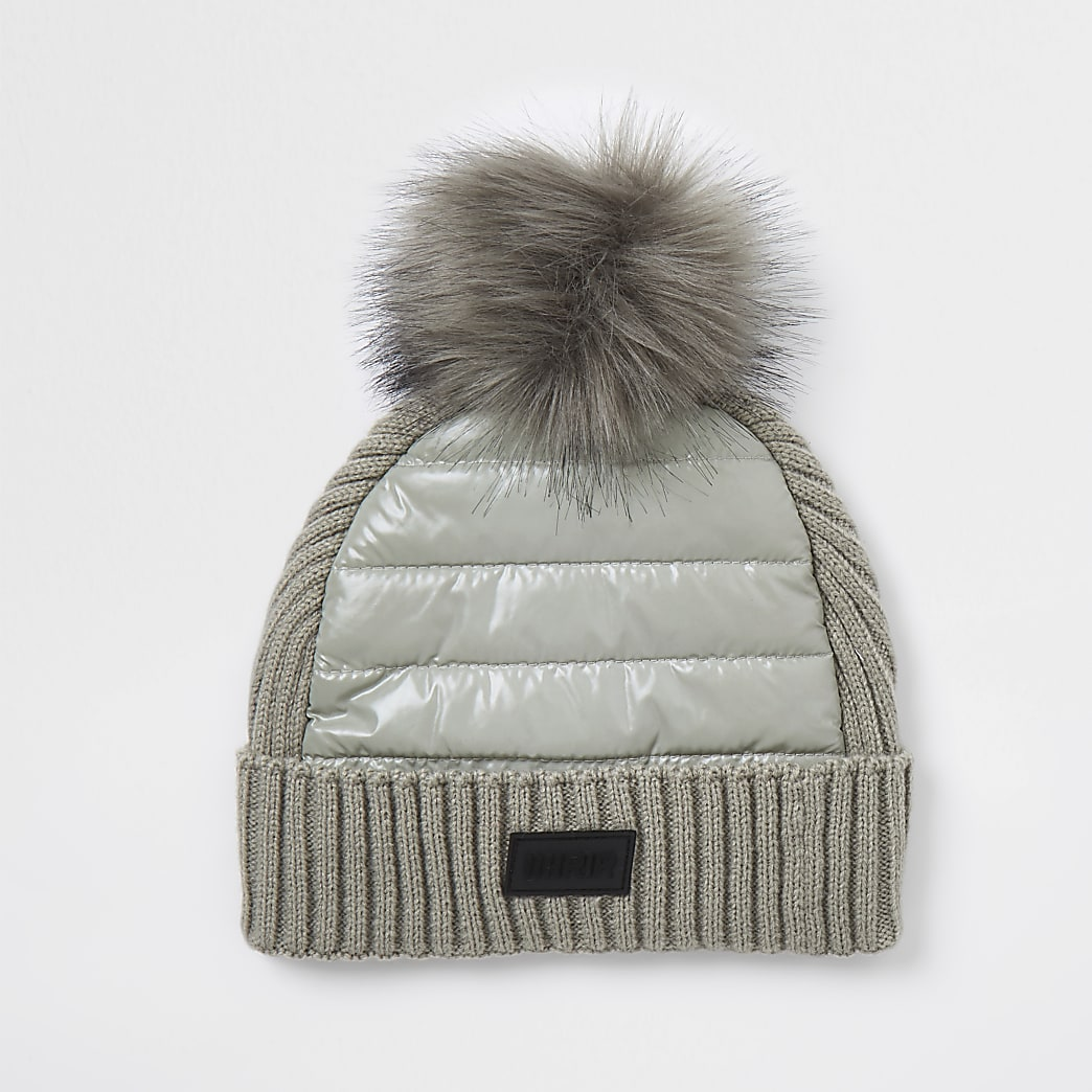Boys grey padded panel beanie hat