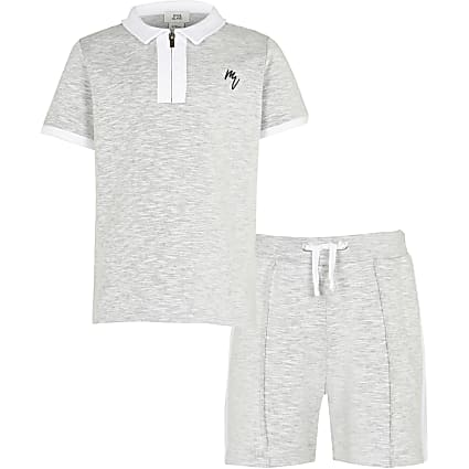 Boys grey polo shirt  outfit