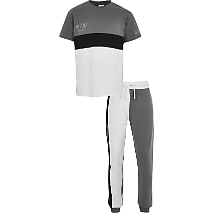 Boys grey prolific colour block outfit