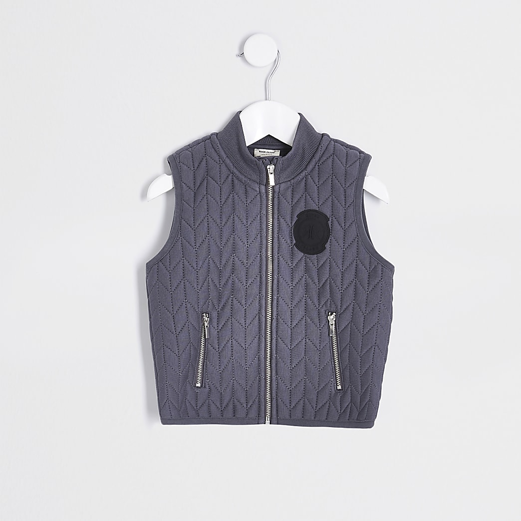 Boys grey quilted jersey gilet