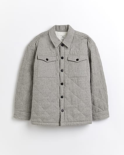 Boys grey quilted shacket