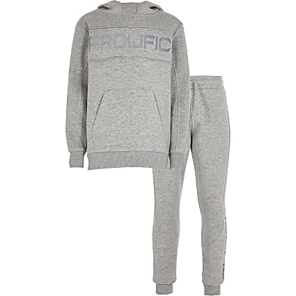 Boys grey reflective prolific tracksuit