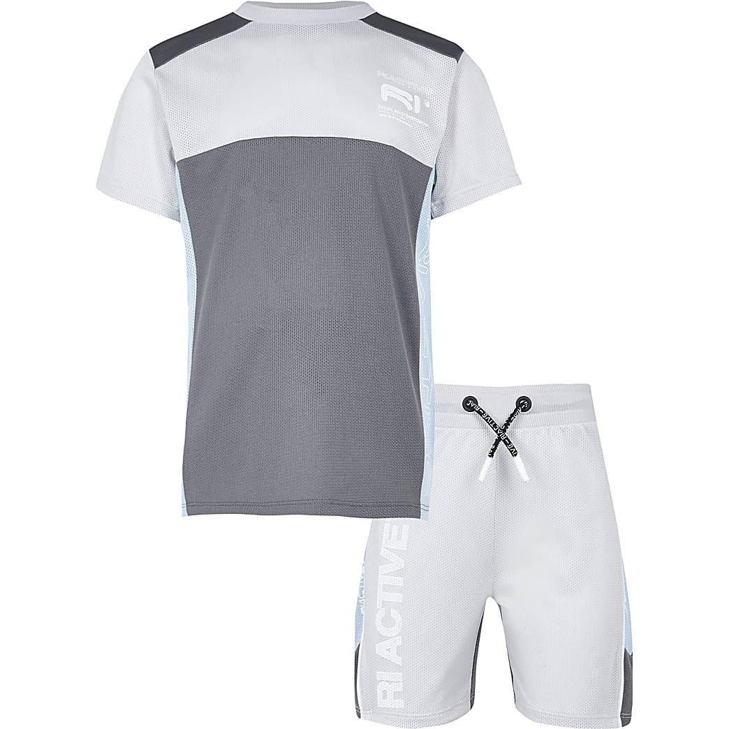Boys grey RI Active mesh block outfit