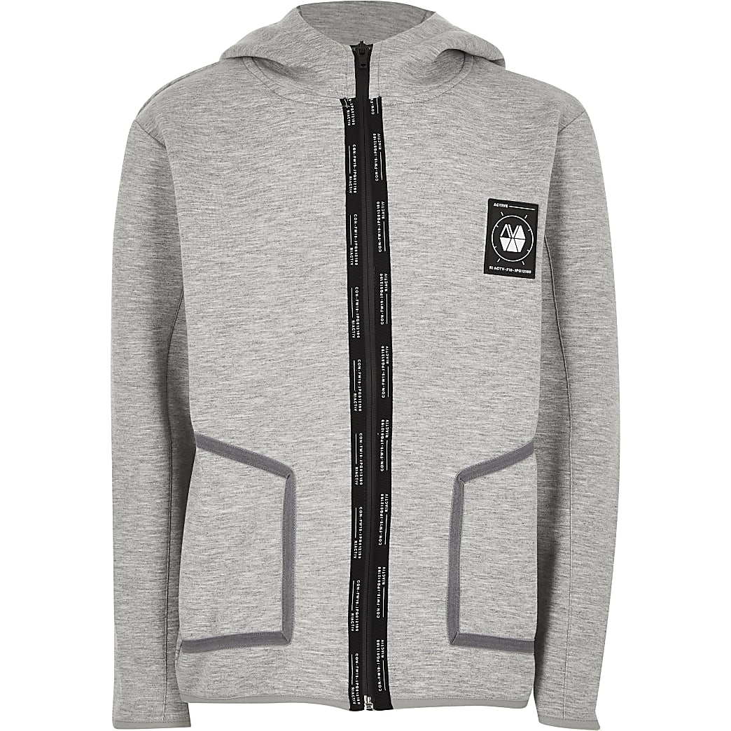 Boys grey RI Active slim fit hoodie
