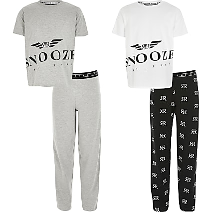 Boys grey RI 'Snooze' pyjamas 2 pack