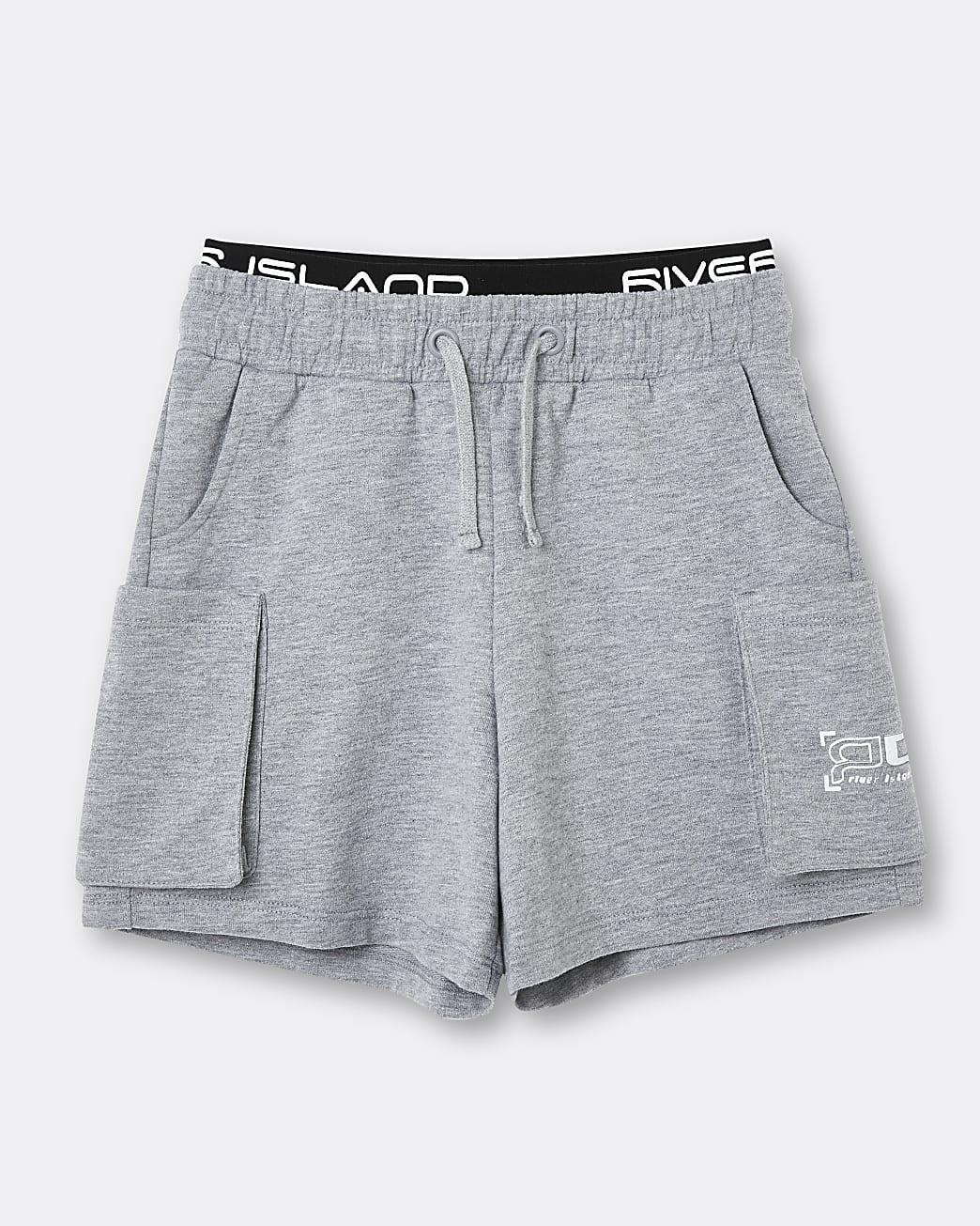 Boys grey RI waistband shorts