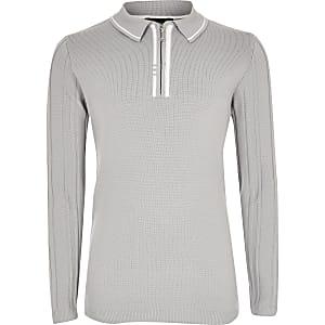 Graues Strick-Poloshirt im Rippenstrick mit kurzem Reißverschluss für Jungen