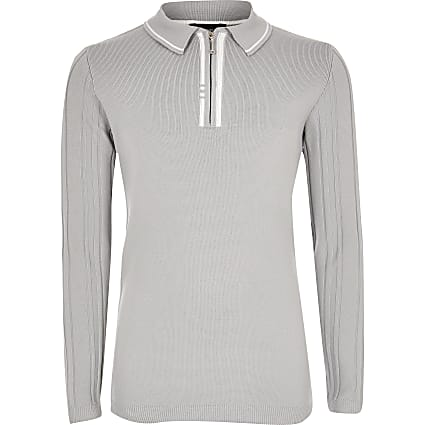 Boys grey ribbed half zip knitted polo shirt