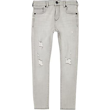 Boys grey ripped skinny jeans