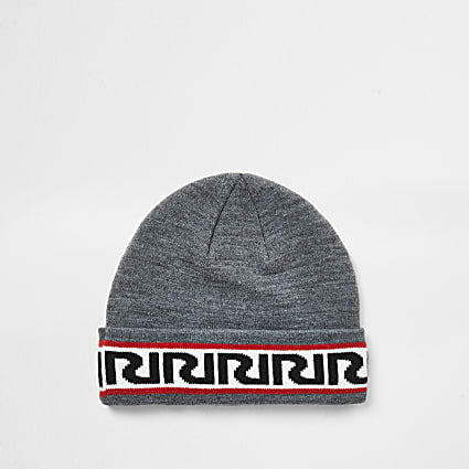 Boys grey RIR monogram beanie hat