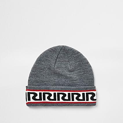 Boys grey RIR monogram beanie hat