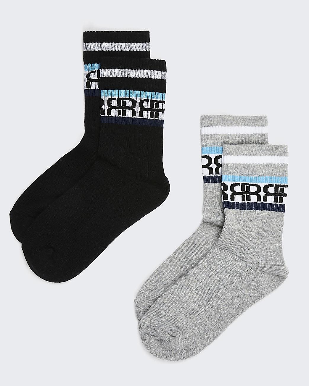 Boys grey RIR stripe socks pack of 2
