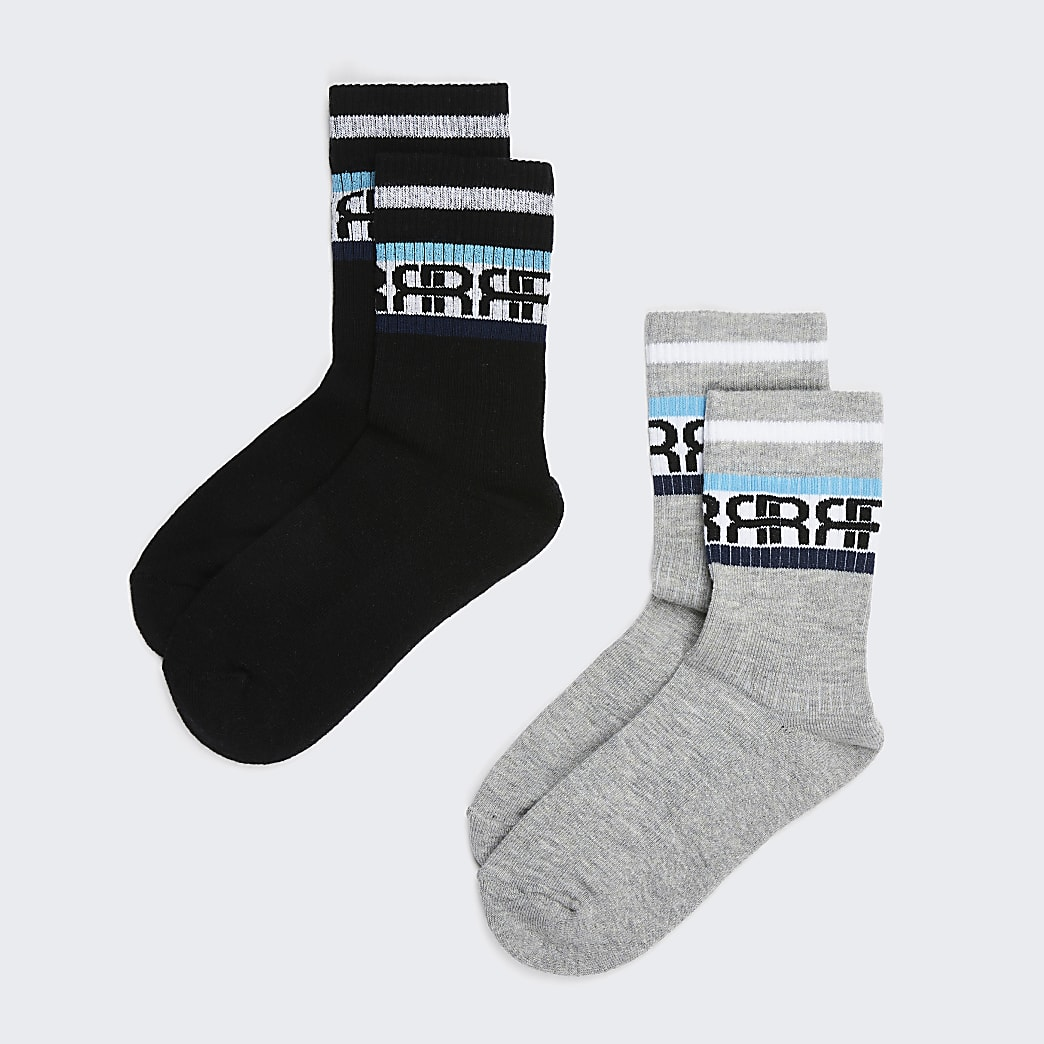 Boys grey RIR stripe socks pack of 2