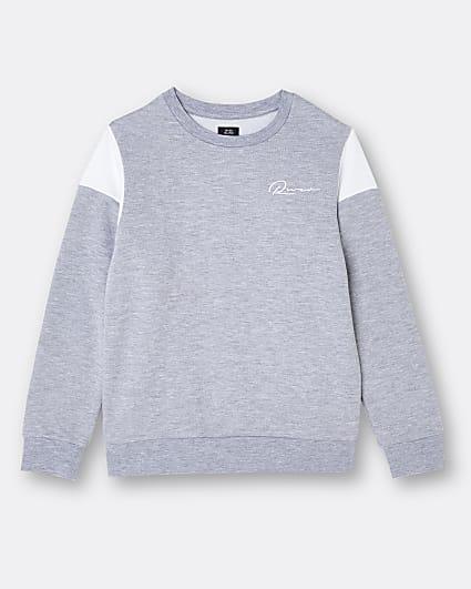 Boys grey River colour block sweatshirt