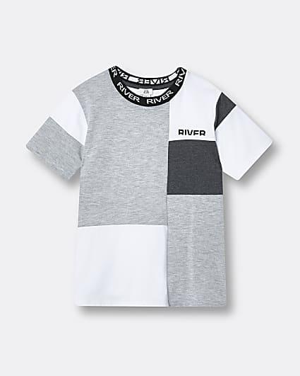 Boys grey River colour block t-shirt