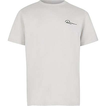 Boys grey 'River' curved hem t-shirt