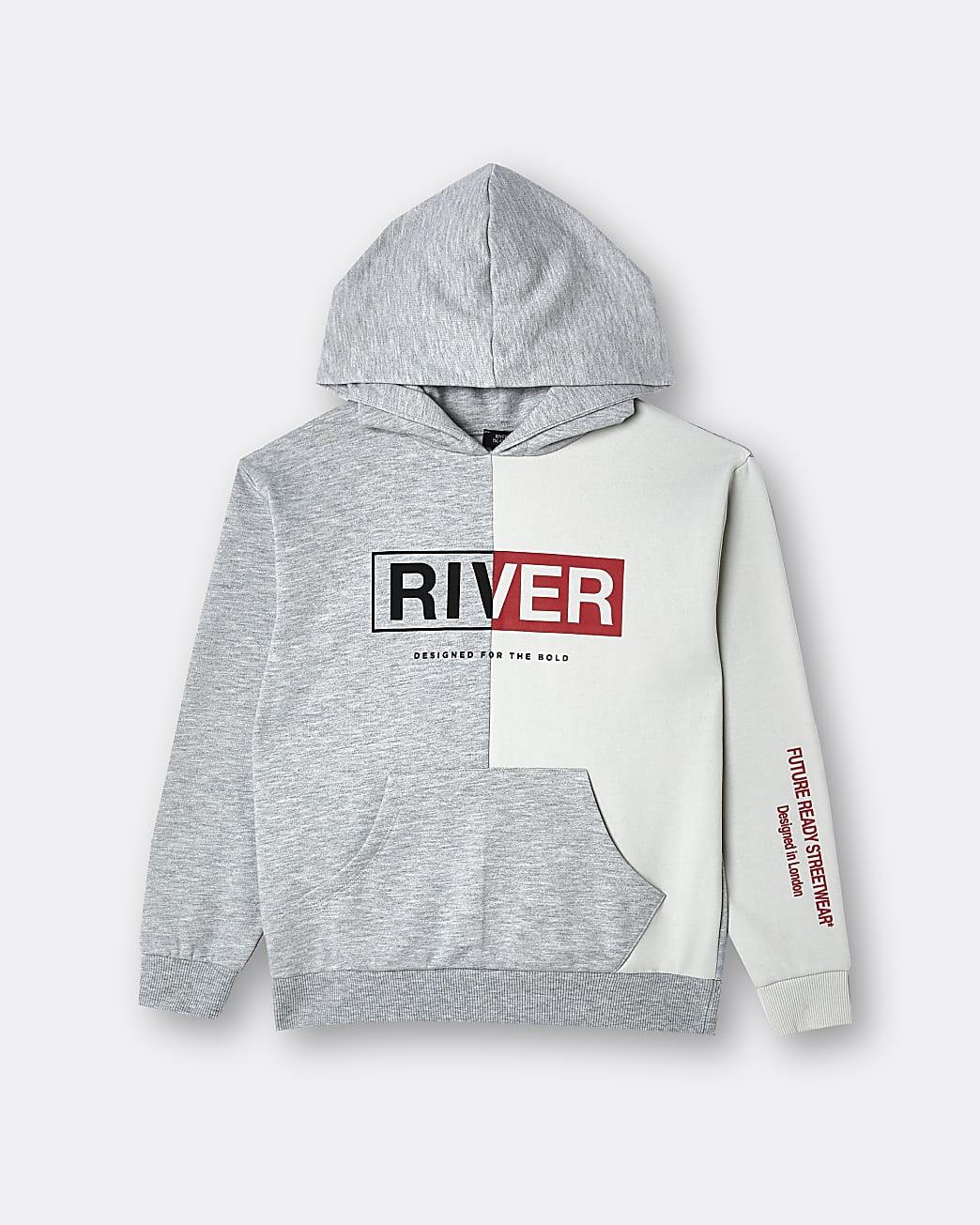 Boys grey 'River' hoodie