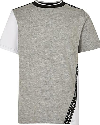 Boys grey River Island colour block t-shirt
