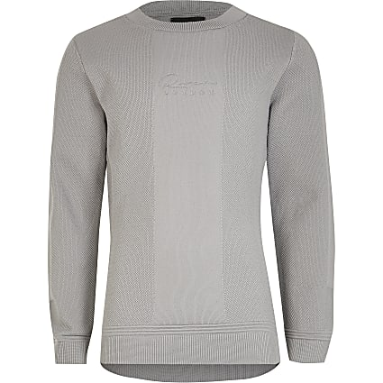 Boys grey 'River' textured jumper