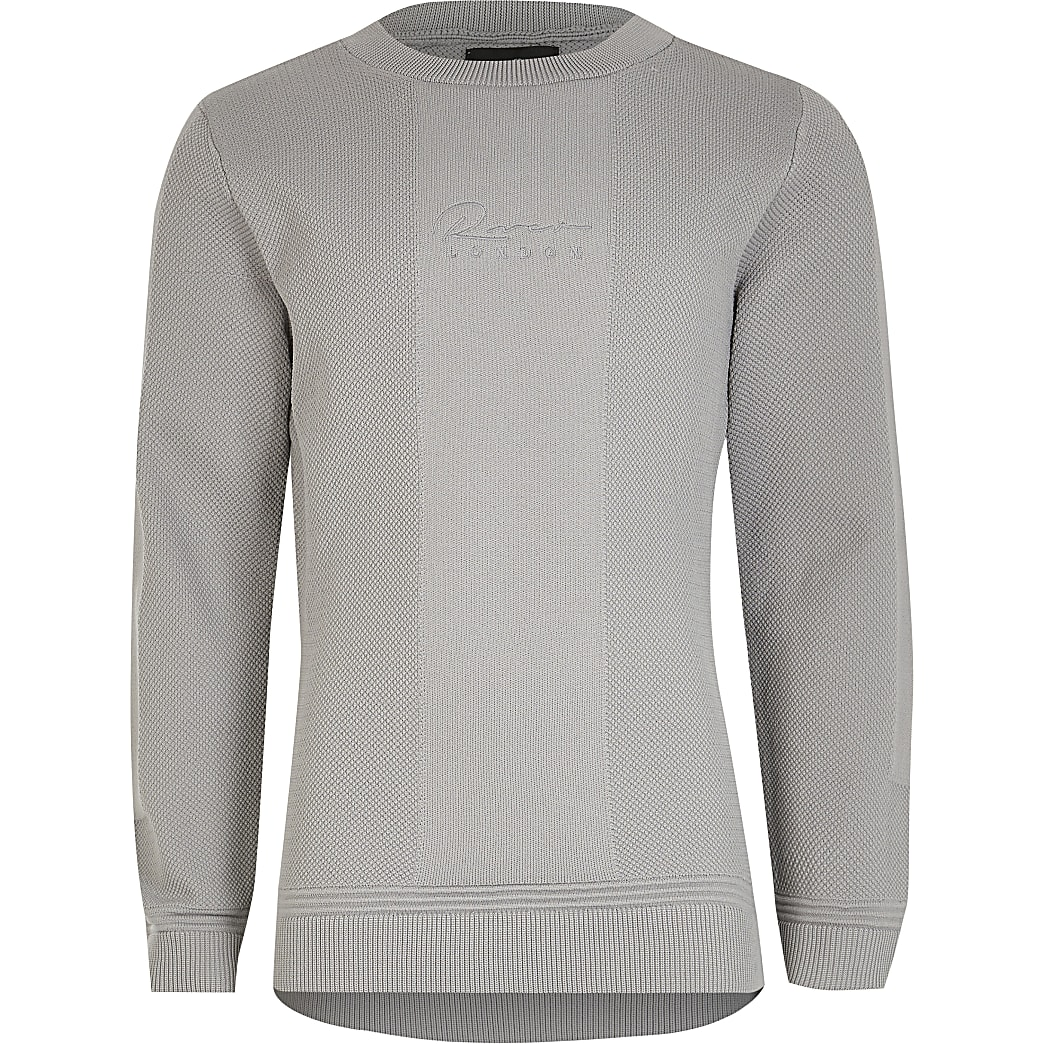 Boys grey 'River' textured jumper