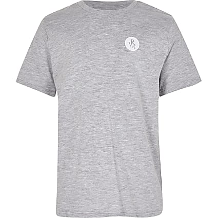 Boys grey RVR chest print t-shirt