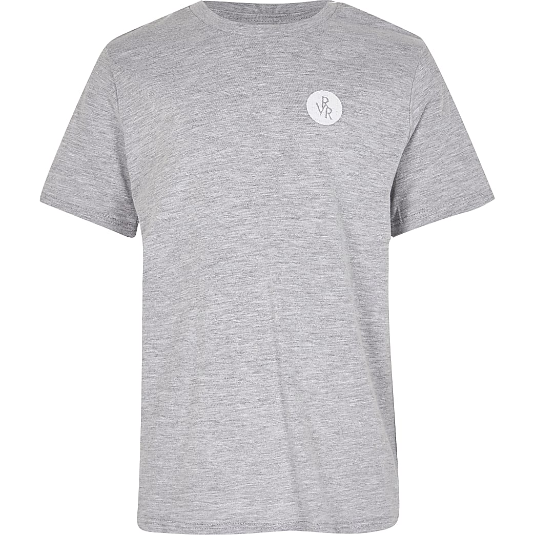 Boys grey RVR chest print t-shirt