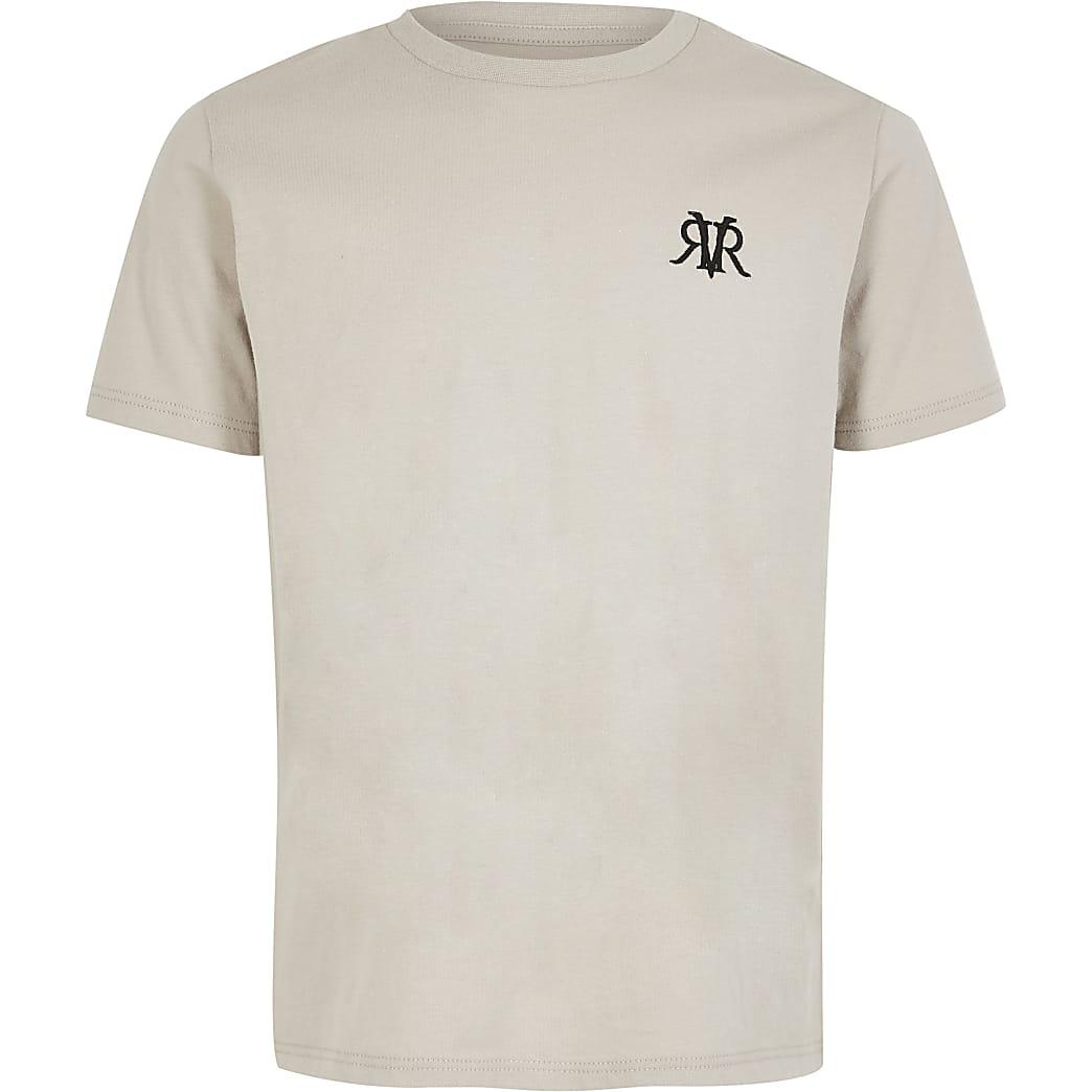 Grijs T-shirt met RVR-letters voor jongens