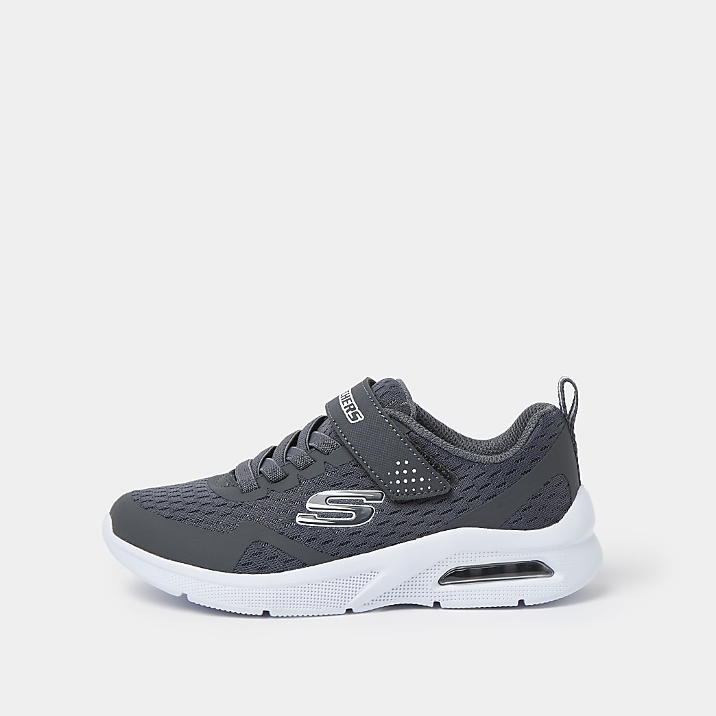 Boys grey Skechers lace up trainers