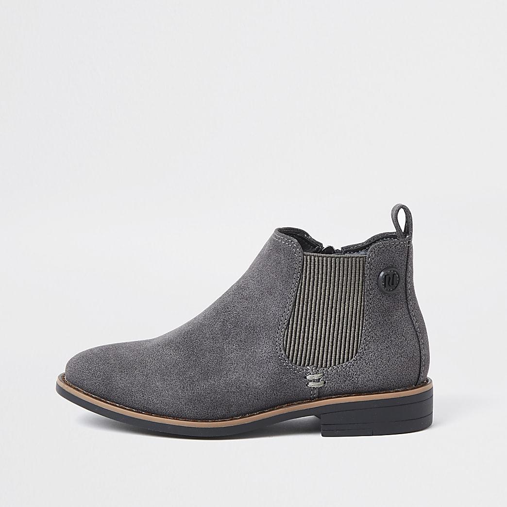 Boys grey smart chelsea boots