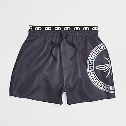 Boys grey straight leg swim shorts