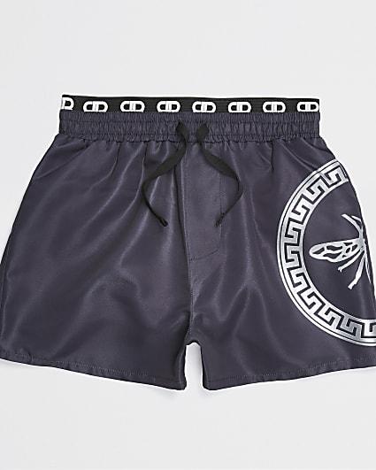 Boys grey straight leg swim shorts