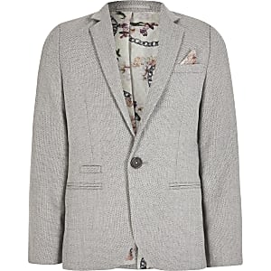 Boys grey texture single breasted suit blazer