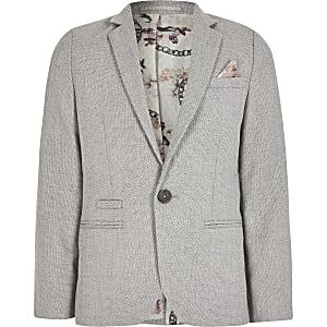Graue, strukturierte, einreihige Anzugjacke für Jungen