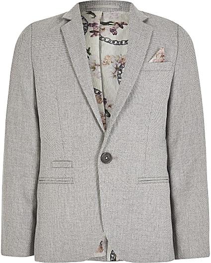 Boys grey texture single breasted suit blazer